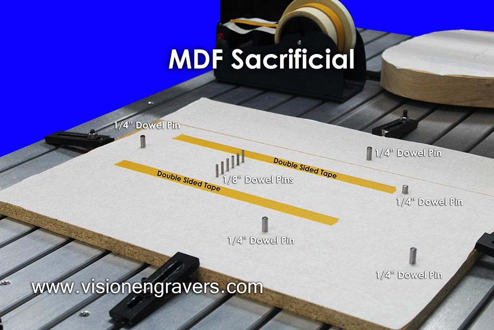 MDF Sacrificial with dowel pins inserted