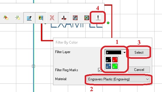 Selecting the right color and material in Vision Engraving Software.