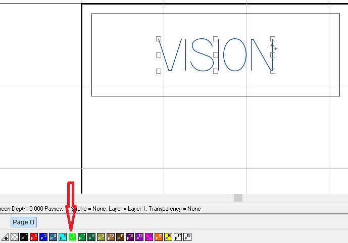 Blue text VISION to be engraved selected so you can change contour line color to yellow.