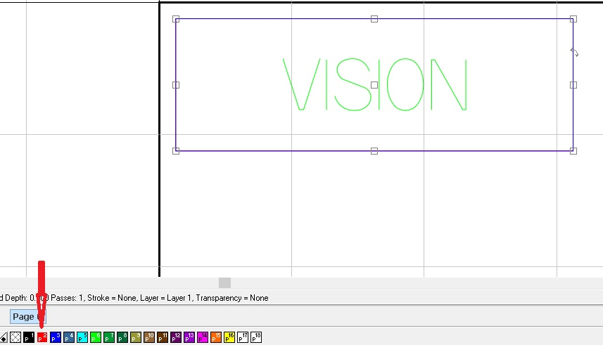 Yellow text Vision to be engraved selected so you can change contour line color to red.