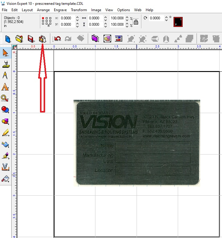 Arrow pointing to import icon in Vision software.