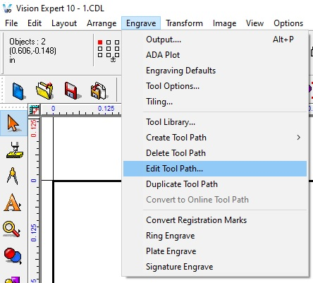 Click engrave in the top menu, then select Edit Tool Paths in the drop down.