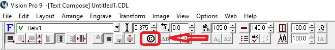 Arrow pointing to the Character Picker Symbol in the tool bar.