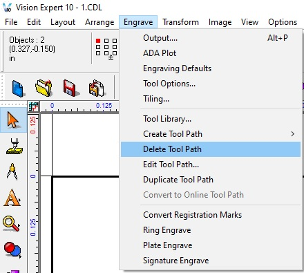 If you do not like the edit tool paths that you created, you can click on engrave in the top menu and select Delete Tool Path.