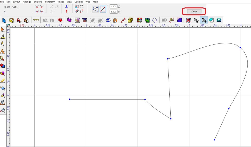 Creating straight line and curved lines as you draw your shape.